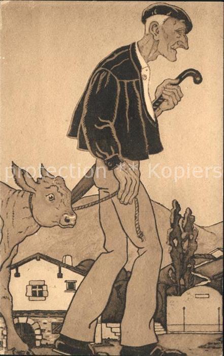Kuenstlerkarte Jacques Le Tanneur Jour de Marche Nr. 323 Pays Basque  Kat. Kuenstlerkarte