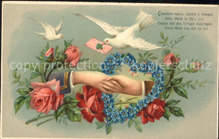 Brieftaube Rosen Herz Vergissmeinnicht Haende Litho Gedicht Kat. Tiere