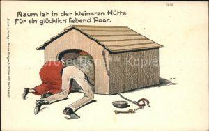 Humor Paar Hundehuette Knochen Kettenleine Litho Kat. Humor