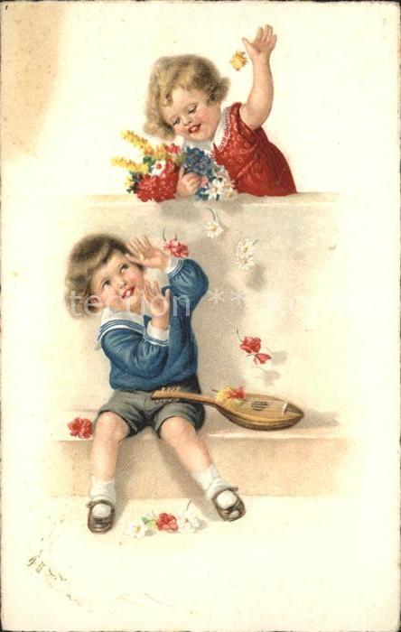 Mandoline Kinder Blumen  Kat. Musik