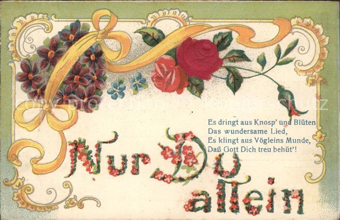 Rosen Veilchen Herz Vergissmeinnicht Gedicht Litho Kat. Pflanzen