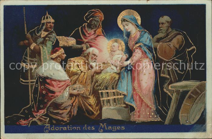 Religion Heilige Familie Heilige Drei Koenige Adoration des Mages Litho Kat. Religion