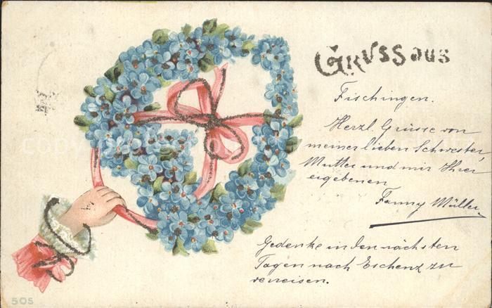 Blumengruesse Vergissmeinnicht Hand Schleife Litho Kat. Greetings