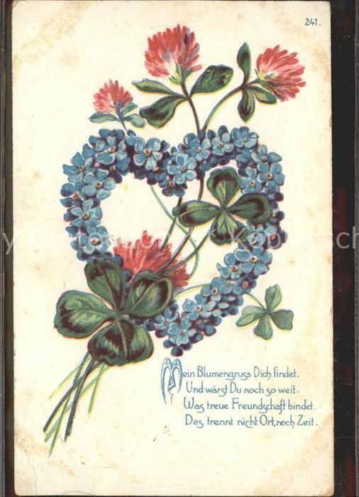 Kleeblatt Blumen Vergissmeinnicht Herz Gedicht Litho Kat Greetings