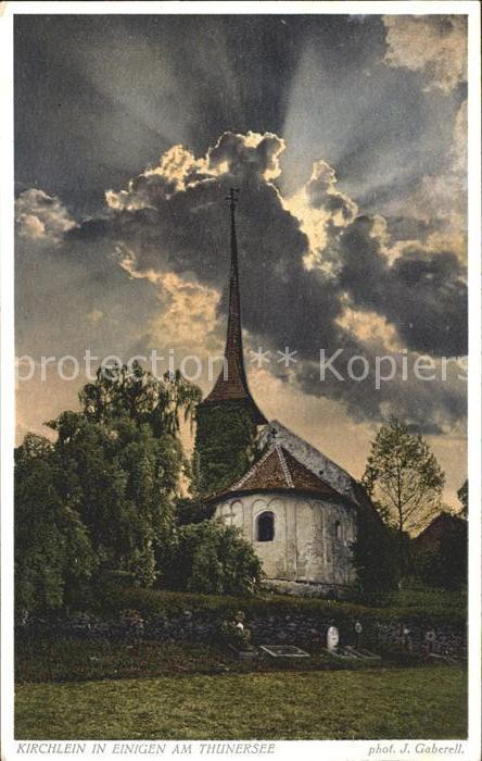 Foto Gaberell J. Nr. 7027 Kirchlein Einigen Thunersee  Kat. Fotografie