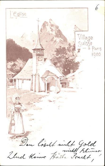 Exposition Universelle Paris 1900 Village Suisse Eglise  Kat. Expositions