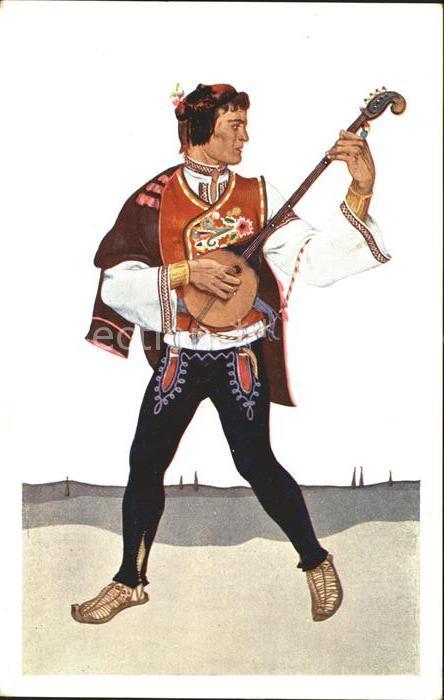 Trachten Dalmatien Narodna nosnja Nationaltracht Instrument Kuenstlerkarte Z. Borelli
