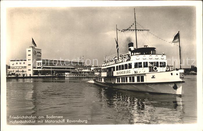 Motorschiffe Ravensburg Friedrichshafen am Bodensee Hafenbahnhof  Kat. Schiffe
