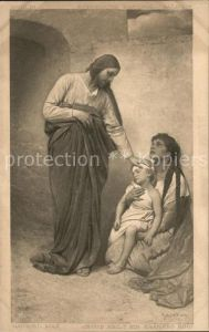 Kuenstlerkarte Alte Kuenstler Gabriel von Max Jesus heilt ein krankes Kind  Kat. Kuenstlerkarte