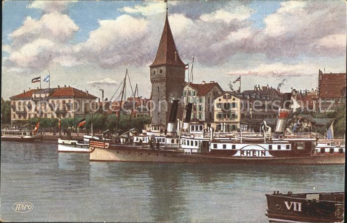 Verlag WIRO Wiedemann Nr. 2867 Lindau Bodensee Hafenpartie Leuchtturm Dampfer Rhein Kat. Verlage