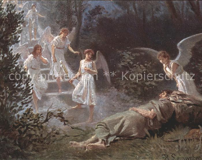 Leinweber R. Die heilige Schrift Bild XI Jakobs Traum Kat. Kuenstlerkarte