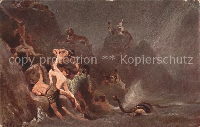 Leinweber R. Die heilige Schrift Bild III Die Sintflut  Kat. Kuenstlerkarte