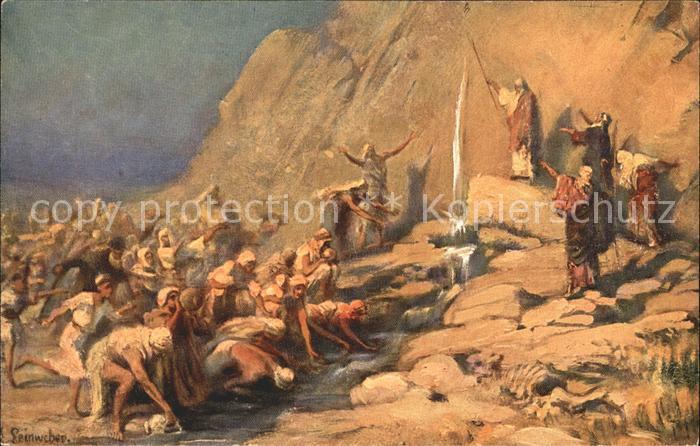 Leinweber R. Die heilige Schrift Bild IX Moses Wasser Felsen Kat. Kuenstlerkarte