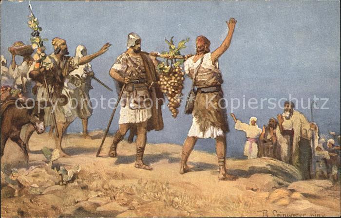 Leinweber R. Die heilige Schrift Bild XII Kundschafter Kanaan Kat. Kuenstlerkarte