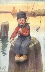 Feiertag Karl Kind Fisch Angel angeln  Kat. Kuenstlerkarte