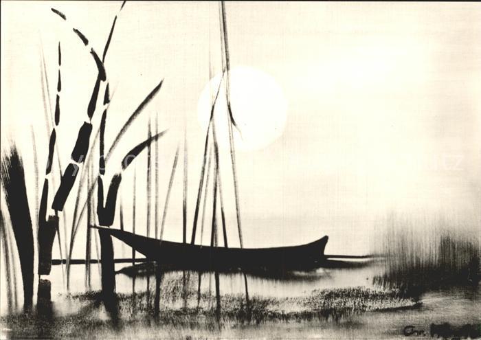 Kuenstlerkarte Christian Hinrich Boot im Schilf Oel auf Leinwand  Kat. Kuenstlerkarte