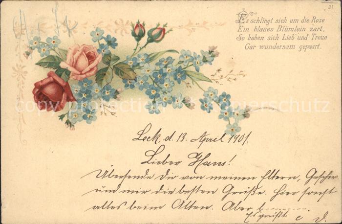 Rosen Vergissmeinnicht Gedicht Litho Kat Pflanzen
