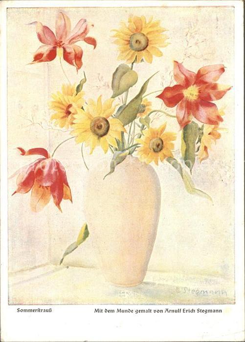 Kuenstlerkarte Mundmaler Arnulf Erich Stegmann Sommerstrauss  Kat. Kuenstlerkarte