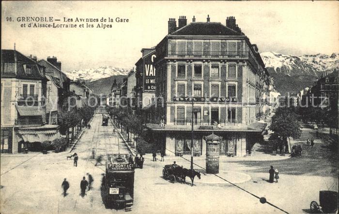 Strassenbahn Grenoble Avenues de la Gare Alsace Lorraine Hotel de Savoie Kat. Strassenbahn