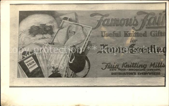 Werbung Reklame Famous Fain Hosiery New York Weihnachtsmann  Kat. Werbung