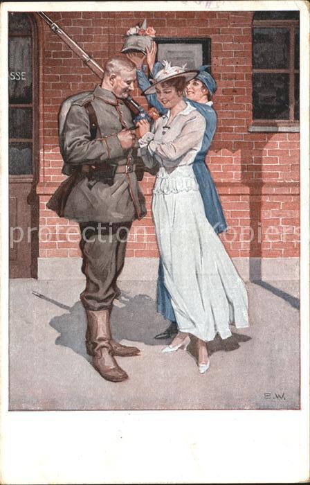 Wennerberg Brynolf Kriegspostkarte Nr. 8 Vor der Abfahrt  Kat. Kuenstlerkarte