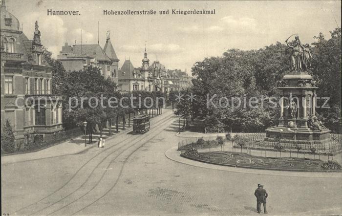 Strassenbahn Hannover Hohenzollernstrasse Kriegerdenkmal Kat. Strassenbahn