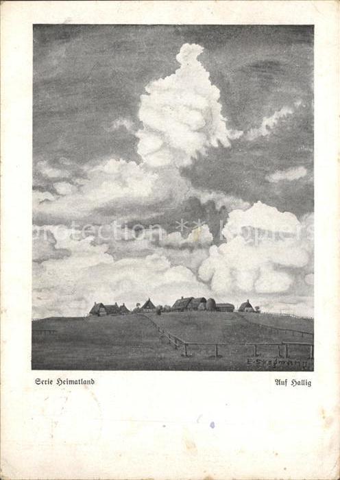 Kuenstlerkarte Mundmaler Erich Stegmann Hallig  Kat. Kuenstlerkarte