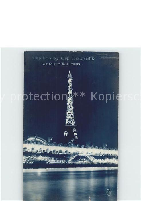 Exposition Arts Decoratifs Paris 1925 Tour Eiffel Vue de Nuit Foto AN Paris Nr. 162 Kat. Expositions 0