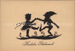 Scherenschnitt Schattenbildkarte Zwerg Kind Tanz Glueckwunsch / Besonderheiten /