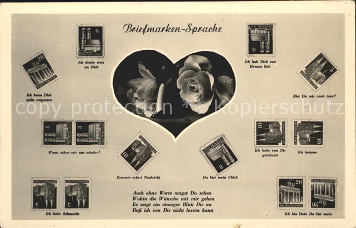Briefmarkensprache Rosen Herz Gedicht  Kat. Philatelie