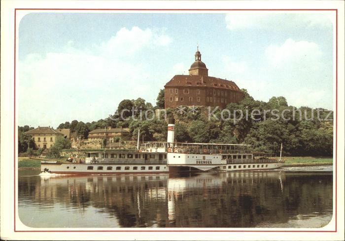 Dampfer Seitenrad Dresden Bahra Schloss Hirschstein Kat. Schiffe