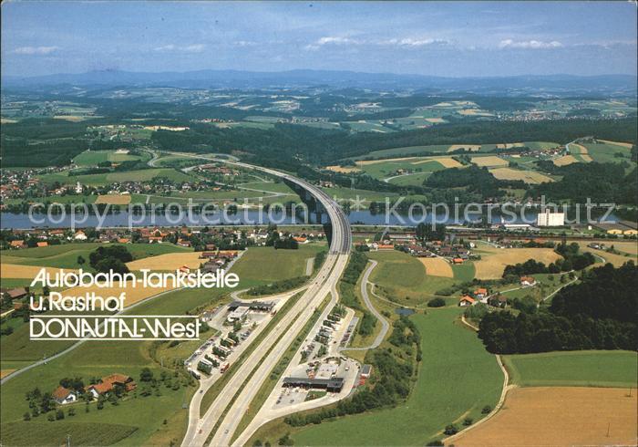 Autobahn Bundesautobahn Tankstelle Rasthof Donautal West Passau Kat. Autos