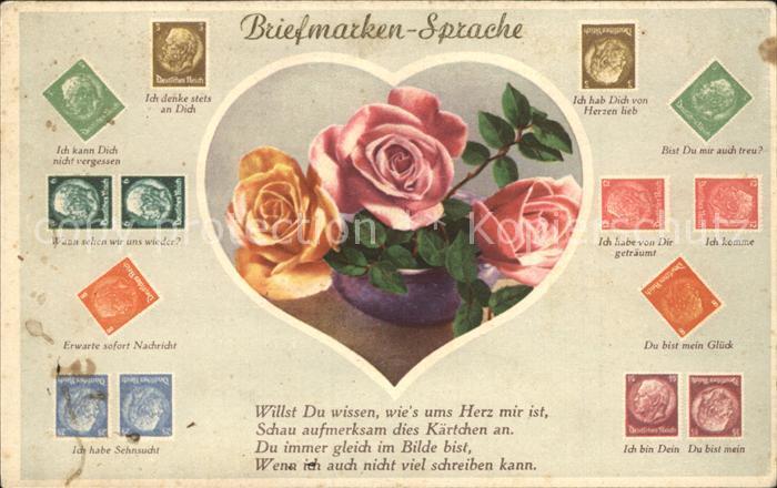 Briefmarkensprache Herz Rosen Gedicht  Kat. Philatelie
