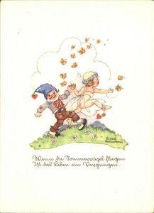Kuenstlerkarte Liesel Lauterborn Zwerg Kind Schmetterling  Kat. Kuenstlerkarte
