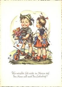 Puppen Kinder Rosen Roller Liebesbrief Kuenstlerkarte Hanitzsch Kat. Spielzeug
