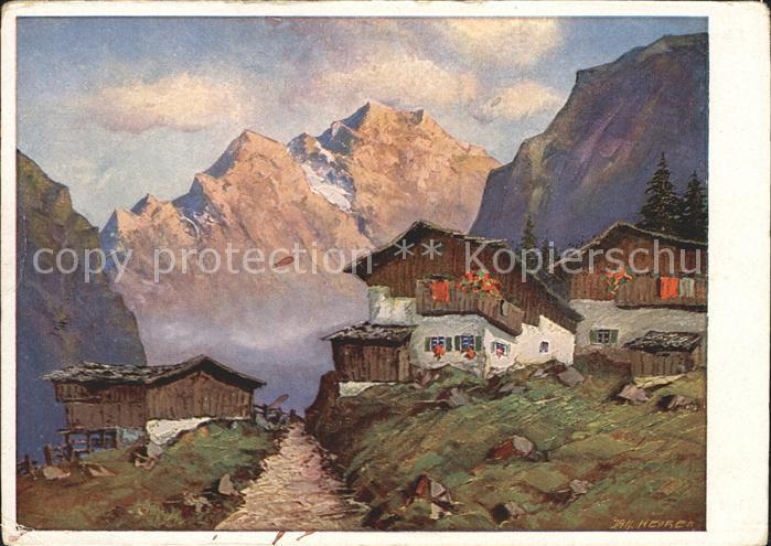 Kuenstlerkarte J. Hecker Berglandschaft  Kat. Kuenstlerkarte