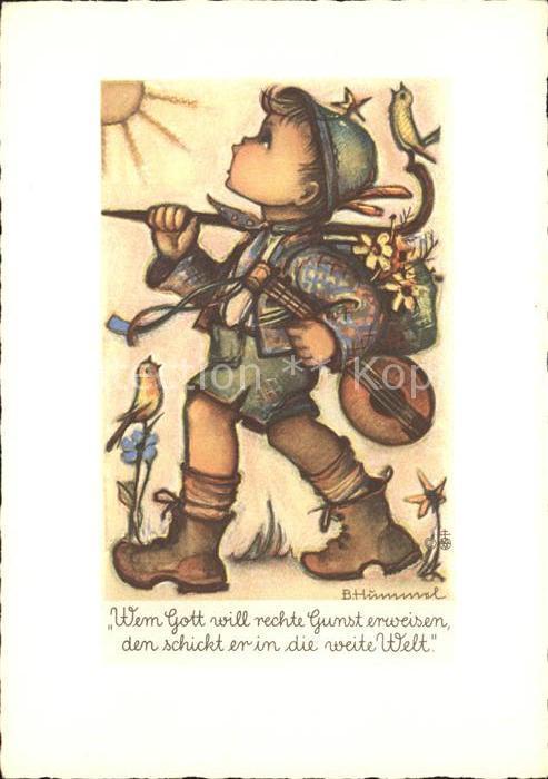 Hummel Nr. 4512 Reisender Mandoline Voegel  Kat. Kuenstlerkarte