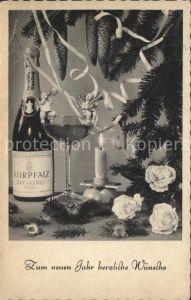 Neujahr Kurpfalz Riesling Sektglas Kerze Blumen Tannenzapfen  Kat. Greetings