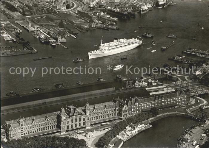 Dampfer Oceanliner MS Oranje Y Hafen Fliegeraufnahme Kat. Schiffe