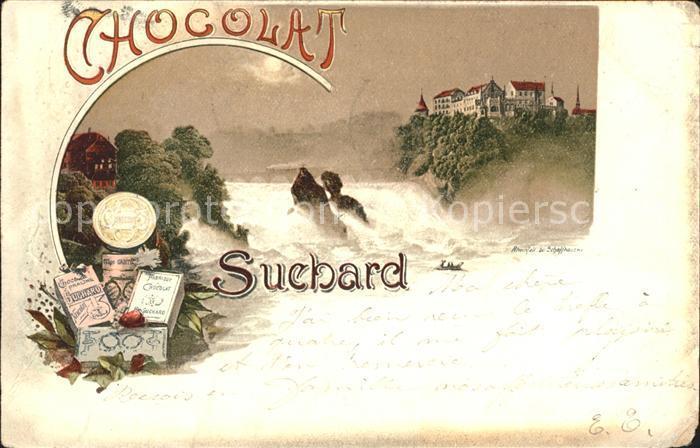 Schokolade Chocolat Suchard Litho Schaffhausen Rheinfall Litho Kat. Werbung