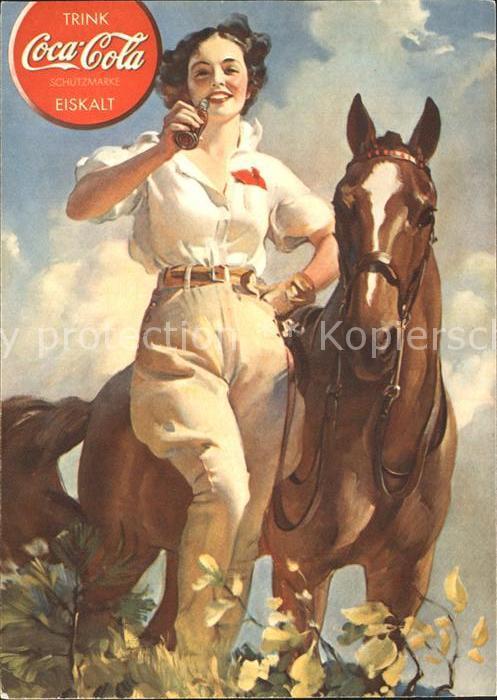 Getraenke Coca Cola Werbung Frau Pferd  Kat. Lebensmittel