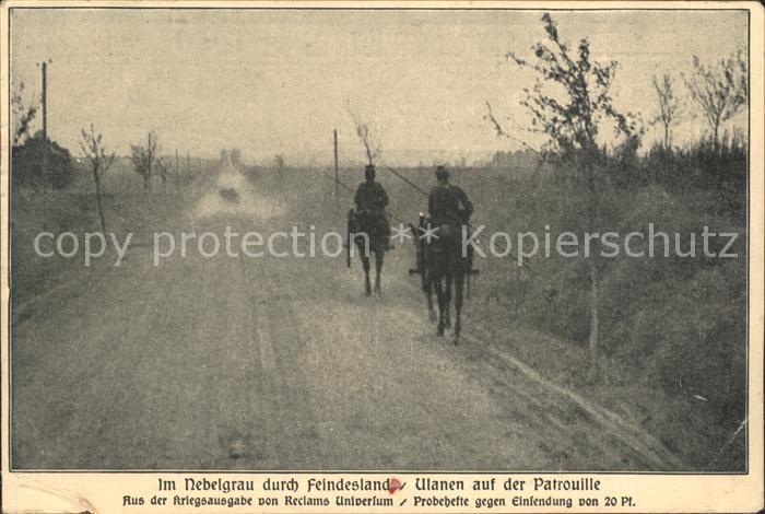 Kavallerie Jaeger zu Pferde WK1 Ulanen Patrouille Reclams Universum Kat. WK1