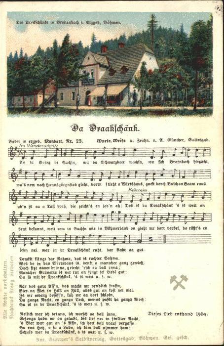 Liederkarte Da Draakschaenk Litho  Kat. Musik