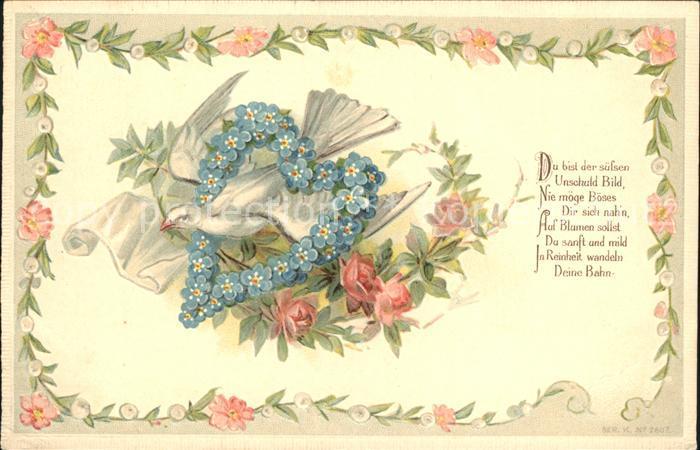 Tauben Herz Vergissmeinnicht Rosen Gedicht Litho Kat. Tiere