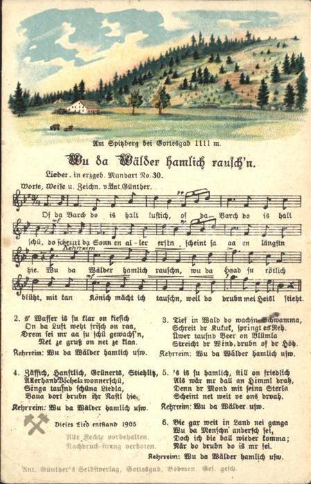 Liederkarte Wu da Waelder hamlich rausch n Litho Kat. Musik