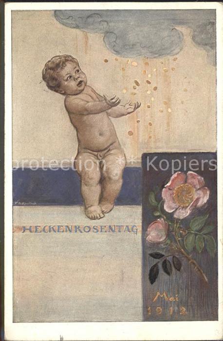 Kaulbach F. A. Heckenrosentag Mai 1912 Rose Muenzen Kind  Kat. Kuenstlerkarte