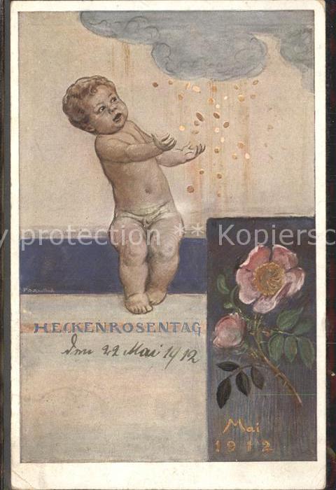 Kaulbach F. A. Heckenrosentag Mai 1912 Rosen Muenzen Kind  Kat. Kuenstlerkarte