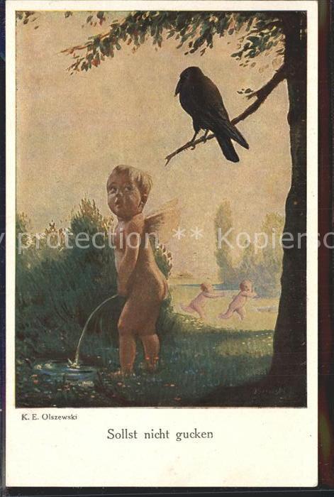 Verlag Galerie Muenchner Meister Nr. 424 K. E. Olszewski Sollst nicht gucken Engel Rabe  Kat. Verlage