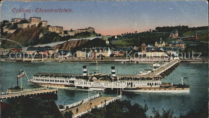 Dampfer Seitenrad Kaiserin Auguste Victoria Koblenz Ehrenbreitstein Kat. Schiffe