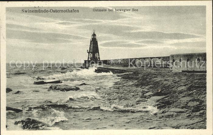 Leuchtturm Lighthouse Swinemuende Osternothafen Ostmole Kat. Gebaeude